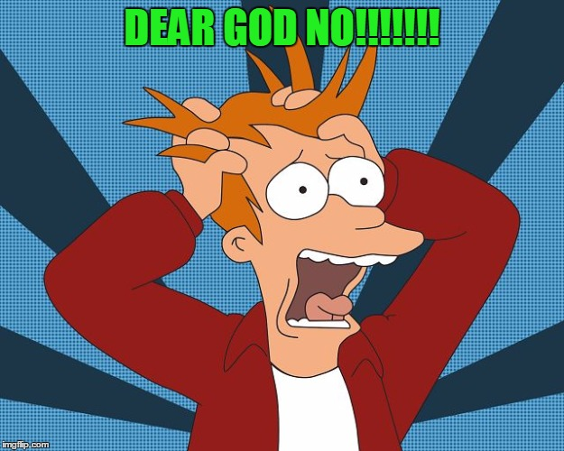 Fry Losing His Mind | DEAR GOD NO!!!!!!! | image tagged in fry losing his mind | made w/ Imgflip meme maker