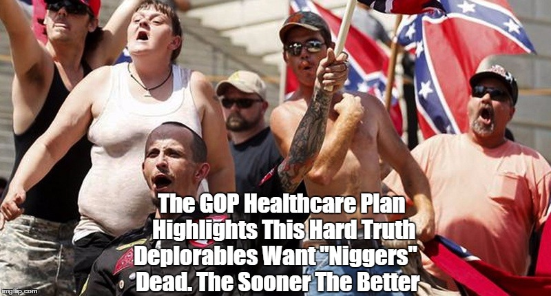 "The GOP Healthcare Plan Highlights This Hard Truth Deplorables Want ""Ni**ers"" Dead. The Sooner The Better 