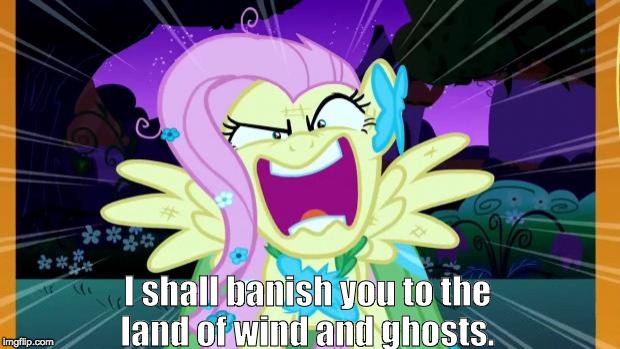 Fluttershy love | I shall banish you to the land of wind and ghosts. | image tagged in fluttershy love | made w/ Imgflip meme maker