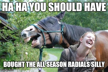 HA HA YOU SHOULD HAVE BOUGHT THE ALL SEASON RADIALS SILLY | made w/ Imgflip meme maker