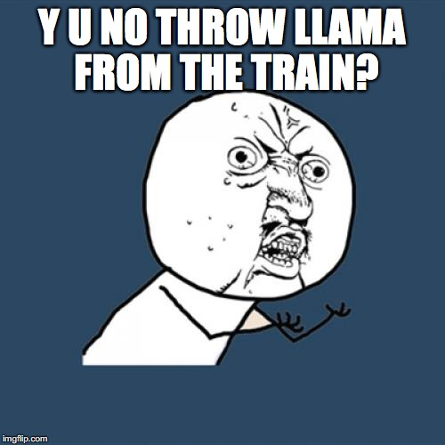 Y U No Meme | Y U NO THROW LLAMA FROM THE TRAIN? | image tagged in memes,y u no | made w/ Imgflip meme maker