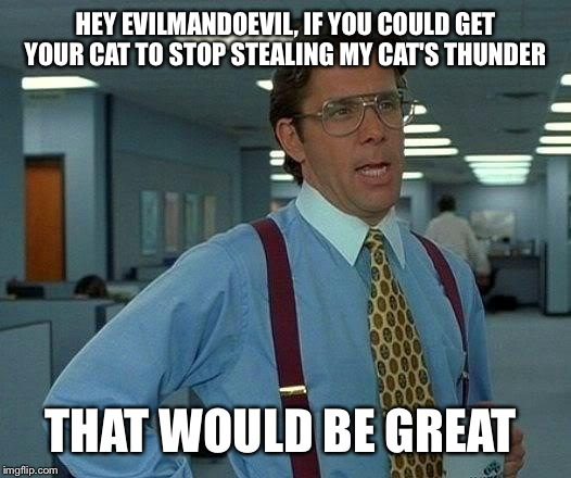 That Would Be Great Meme | HEY EVILMANDOEVIL, IF YOU COULD GET YOUR CAT TO STOP STEALING MY CAT'S THUNDER THAT WOULD BE GREAT | image tagged in memes,that would be great | made w/ Imgflip meme maker