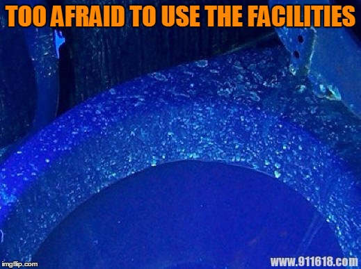 Toilet Under UV Light | TOO AFRAID TO USE THE FACILITIES | image tagged in toilet under uv light | made w/ Imgflip meme maker