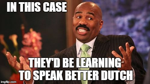 Steve Harvey Meme | IN THIS CASE THEY'D BE LEARNING TO SPEAK BETTER DUTCH | image tagged in memes,steve harvey | made w/ Imgflip meme maker