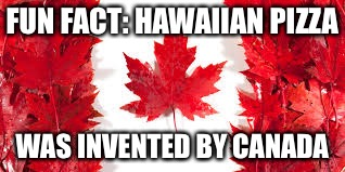 Learned this on the internet. My life is a lie. | FUN FACT: HAWAIIAN PIZZA WAS INVENTED BY CANADA | image tagged in hawaii,canada,pizza | made w/ Imgflip meme maker