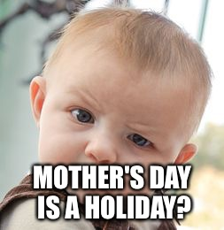 Skeptical Baby Meme | MOTHER'S DAY IS A HOLIDAY? | image tagged in memes,skeptical baby | made w/ Imgflip meme maker
