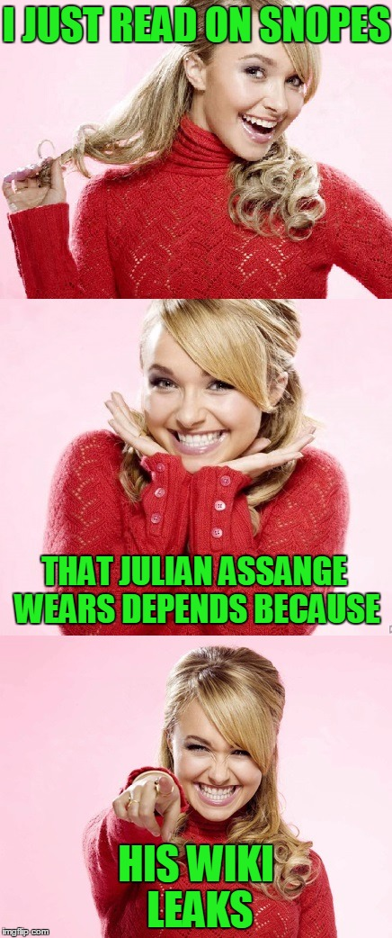 WARNING:  This meme contains fake news.  | I JUST READ ON SNOPES HIS WIKI LEAKS THAT JULIAN ASSANGE WEARS DEPENDS BECAUSE | image tagged in hayden red pun,snopes,julian assange,alternative facts | made w/ Imgflip meme maker