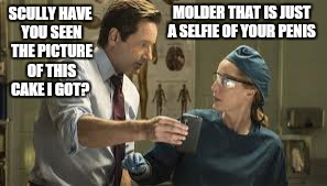MOLDER THAT IS JUST A SELFIE OF YOUR P**IS SCULLY HAVE YOU SEEN THE PICTURE OF THIS CAKE I GOT? | made w/ Imgflip meme maker