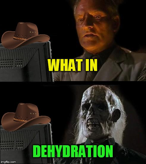 What In Tarnation Week March 7th to 14th ( A Santadude Event) | WHAT IN DEHYDRATION | image tagged in memes,ill just wait here,what in tarnation week,what in tarnation,santadude,no clue | made w/ Imgflip meme maker