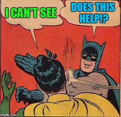 Batman Slapping Robin Meme | I CAN'T SEE DOES THIS HELP!? | image tagged in memes,batman slapping robin | made w/ Imgflip meme maker