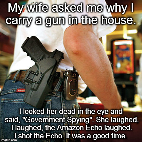 "Why I Carry At Home | My wife asked me why I carry a gun in the house. I looked her dead in the eye and said, ""Government Spying"". She laughed, I laughed, the Ama 