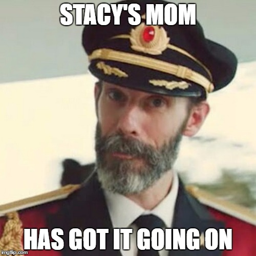 It's obvious to the Captain - I apologize if someones already did this and that this crappy song is stuck in you head now. |  STACY'S MOM; HAS GOT IT GOING ON | image tagged in captain obvious,memes,stacy's mom,crappy songs,song stuck in your head now | made w/ Imgflip meme maker