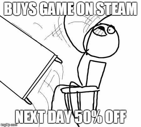 Table Flip Guy Meme | BUYS GAME ON STEAM NEXT DAY 50% OFF | image tagged in memes,table flip guy | made w/ Imgflip meme maker