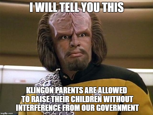 suck my ridges | I WILL TELL YOU THIS KLINGON PARENTS ARE ALLOWED TO RAISE THEIR CHILDREN WITHOUT INTERFERENCE FROM OUR GOVERNMENT | image tagged in suck my ridges,memes,star trek the next generation,lieutenant worf | made w/ Imgflip meme maker