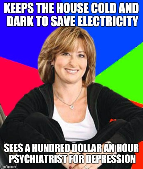 Sheltering Suburban Mom Meme | KEEPS THE HOUSE COLD AND DARK TO SAVE ELECTRICITY SEES A HUNDRED DOLLAR AN HOUR PSYCHIATRIST FOR DEPRESSION | image tagged in memes,sheltering suburban mom | made w/ Imgflip meme maker