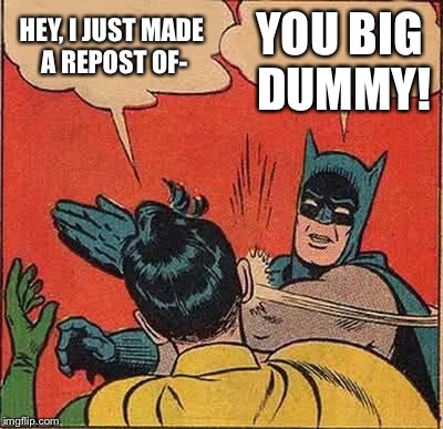 Batman Slapping Robin Meme | HEY, I JUST MADE A REPOST OF- YOU BIG DUMMY! | image tagged in memes,batman slapping robin | made w/ Imgflip meme maker