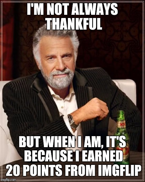The Most Interesting Man In The World Meme | I'M NOT ALWAYS THANKFUL BUT WHEN I AM, IT'S BECAUSE I EARNED 20 POINTS FROM IMGFLIP | image tagged in memes,the most interesting man in the world | made w/ Imgflip meme maker