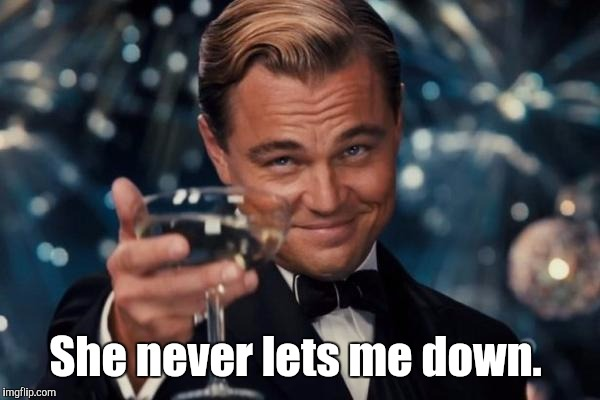 Leonardo Dicaprio Cheers Meme | She never lets me down. | image tagged in memes,leonardo dicaprio cheers | made w/ Imgflip meme maker