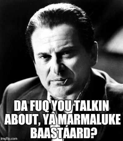 Joe Pesci sez,,, | DA FUQ YOU TALKIN ABOUT, YA MARMALUKE  BAASTAARD? | image tagged in joe pesci sez | made w/ Imgflip meme maker