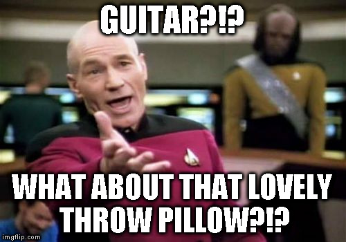 Picard Wtf Meme | GUITAR?!? WHAT ABOUT THAT LOVELY THROW PILLOW?!? | image tagged in memes,picard wtf | made w/ Imgflip meme maker