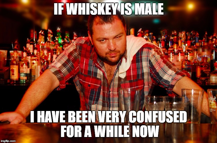 annoyed bartender | IF WHISKEY IS MALE I HAVE BEEN VERY CONFUSED FOR A WHILE NOW | image tagged in annoyed bartender | made w/ Imgflip meme maker