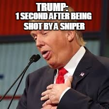 donald | TRUMP: 1 SECOND AFTER BEING SHOT BY A SNIPER | image tagged in donald | made w/ Imgflip meme maker