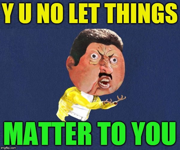 Y U No Freddy Mercury | Y U NO LET THINGS MATTER TO YOU | image tagged in y u no freddy mercury | made w/ Imgflip meme maker