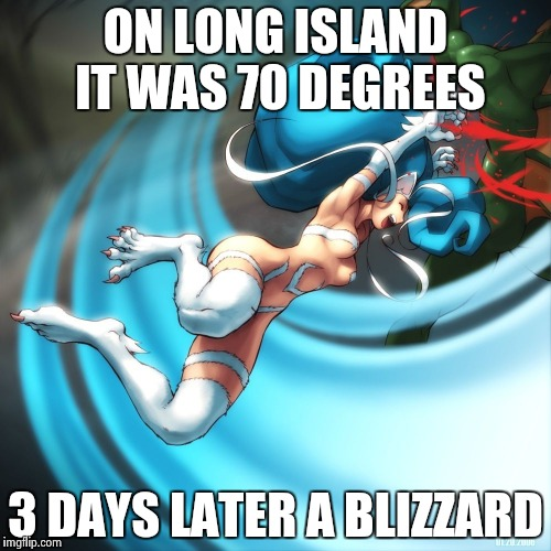 Cat girl Felicia | ON LONG ISLAND IT WAS 70 DEGREES 3 DAYS LATER A BLIZZARD | image tagged in cat girl felicia | made w/ Imgflip meme maker