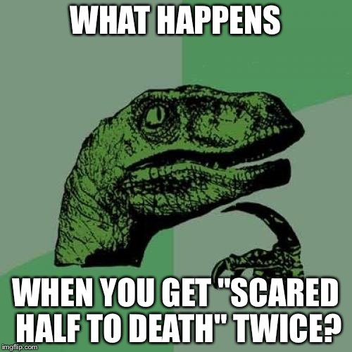 "Philosoraptor Meme | WHAT HAPPENS WHEN YOU GET ""SCARED HALF TO DEATH"" TWICE? 