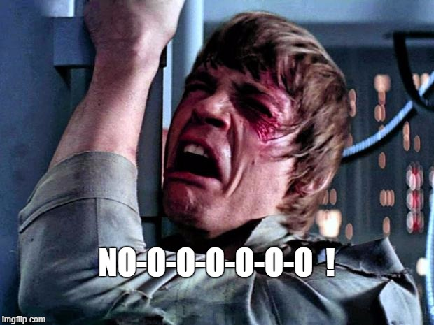No! | NO-O-O-O-O-O-O  ! | image tagged in luke skywalker crying,star wars,the empire strikes back | made w/ Imgflip meme maker