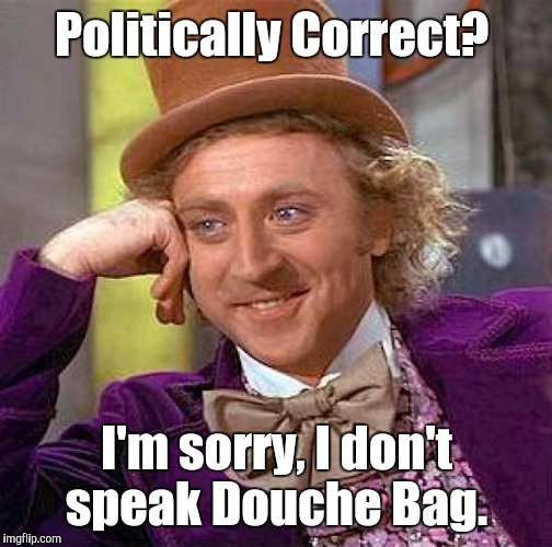 Creepy Condescending Wonka Meme | Politically Correct? I'm sorry, I don't speak Douche Bag. | image tagged in memes,creepy condescending wonka | made w/ Imgflip meme maker