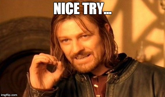 One Does Not Simply Meme | NICE TRY... | image tagged in memes,one does not simply | made w/ Imgflip meme maker