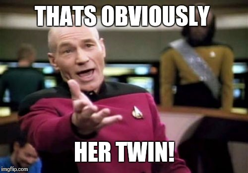 Picard Wtf Meme | THATS OBVIOUSLY HER TWIN! | image tagged in memes,picard wtf | made w/ Imgflip meme maker
