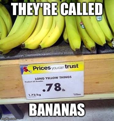 They're bananas not long yellow things | THEY'RE CALLED BANANAS | image tagged in bananas,fail,you had one job,memes,funny | made w/ Imgflip meme maker