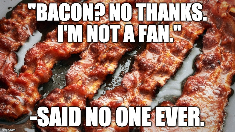 "Never ever. | ""BACON? NO THANKS. I'M NOT A FAN."" -SAID NO ONE EVER. 