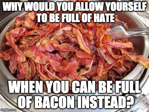 Great point. | WHY WOULD YOU ALLOW YOURSELF TO BE FULL OF HATE WHEN YOU CAN BE FULL OF BACON INSTEAD? | image tagged in bacon,hate,full | made w/ Imgflip meme maker