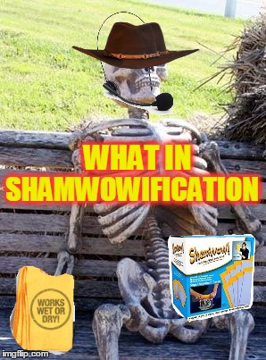 Absorbication Amazination! What In Tarnation Week March 7th to 14th ( A Santadude Event) | SHAMWOWIFICATION WHAT IN | image tagged in memes,waiting skeleton,shamwow,funny,absorbs everything | made w/ Imgflip meme maker