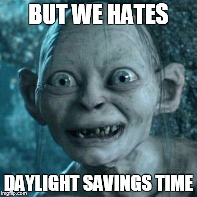Gollum Meme | BUT WE HATES DAYLIGHT SAVINGS TIME | image tagged in memes,gollum | made w/ Imgflip meme maker
