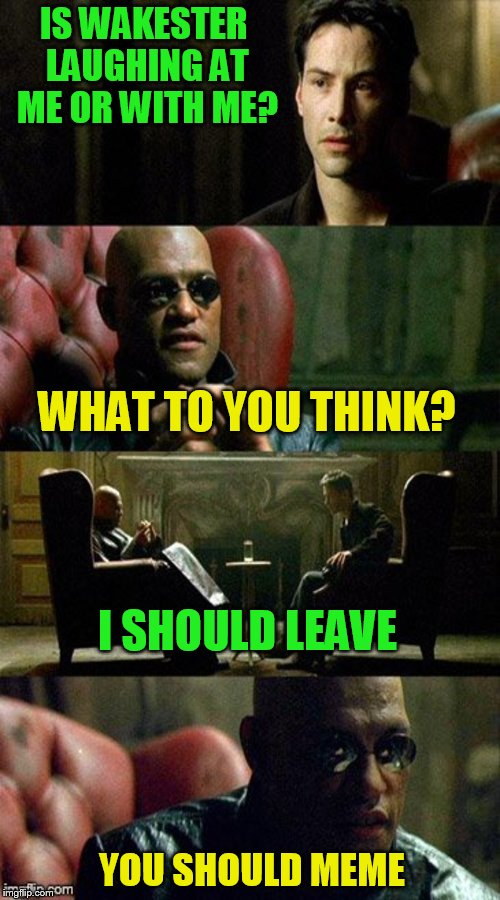 Matrix | IS WAKESTER LAUGHING AT ME OR WITH ME? WHAT TO YOU THINK? I SHOULD LEAVE YOU SHOULD MEME | image tagged in matrix | made w/ Imgflip meme maker