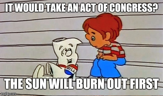 IT WOULD TAKE AN ACT OF CONGRESS? THE SUN WILL BURN OUT FIRST | made w/ Imgflip meme maker