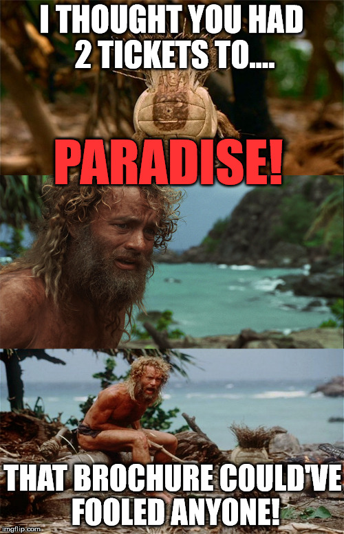 Punk Wilson | I THOUGHT YOU HAD 2 TICKETS TO.... PARADISE! THAT BROCHURE COULD'VE FOOLED ANYONE! | image tagged in punk wilson | made w/ Imgflip meme maker