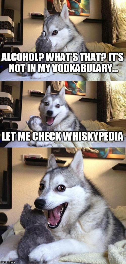 Bad Pun Dog - Alcohol | ALCOHOL? WHAT'S THAT? IT'S NOT IN MY VODKABULARY... LET ME CHECK WHISKYPEDIA | image tagged in memes,bad pun dog,alcohol | made w/ Imgflip meme maker