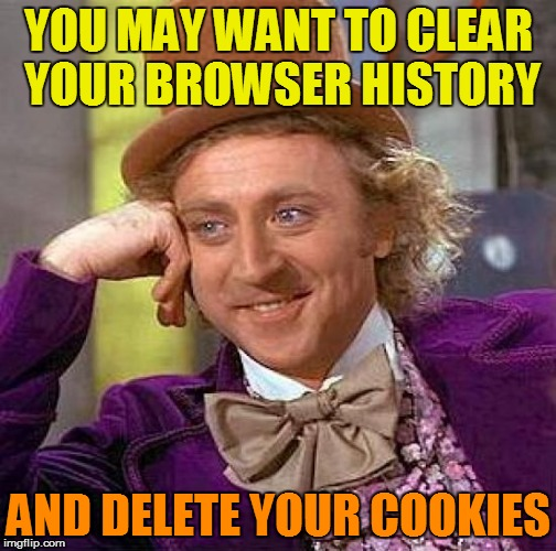 Creepy Condescending Wonka Meme | YOU MAY WANT TO CLEAR YOUR BROWSER HISTORY AND DELETE YOUR COOKIES | image tagged in memes,creepy condescending wonka | made w/ Imgflip meme maker
