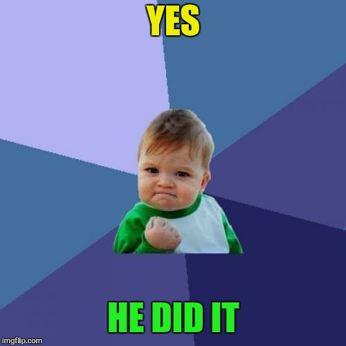 Success Kid Meme | YES HE DID IT | image tagged in memes,success kid | made w/ Imgflip meme maker