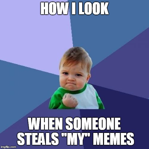 "Success Kid Meme | HOW I LOOK WHEN SOMEONE STEALS ""MY"" MEMES 