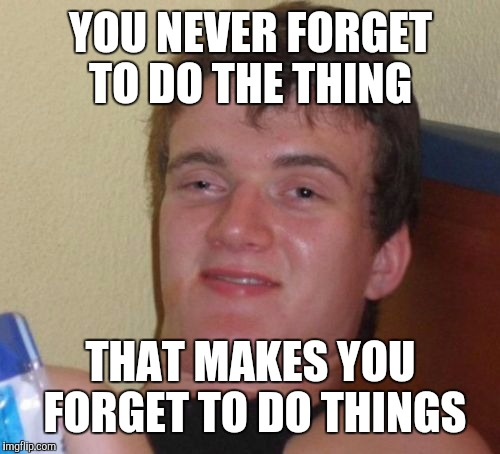 10 Guy Meme | YOU NEVER FORGET TO DO THE THING THAT MAKES YOU FORGET TO DO THINGS | image tagged in memes,10 guy | made w/ Imgflip meme maker