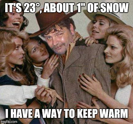 "Swiggy cigar suave | IT'S 23°, ABOUT 1"" OF SNOW I HAVE A WAY TO KEEP WARM 