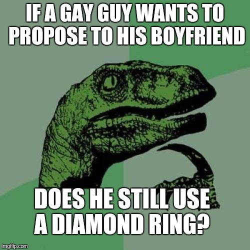 Seriously Guys, Help me out Here. |  IF A GAY GUY WANTS TO PROPOSE TO HIS BOYFRIEND; DOES HE STILL USE A DIAMOND RING? | image tagged in memes,philosoraptor,gay marriage | made w/ Imgflip meme maker