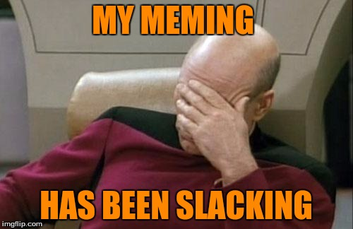Captain Picard Facepalm Meme | MY MEMING HAS BEEN SLACKING | image tagged in memes,captain picard facepalm | made w/ Imgflip meme maker
