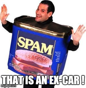 THAT IS AN EX-CAR ! | image tagged in spam man | made w/ Imgflip meme maker